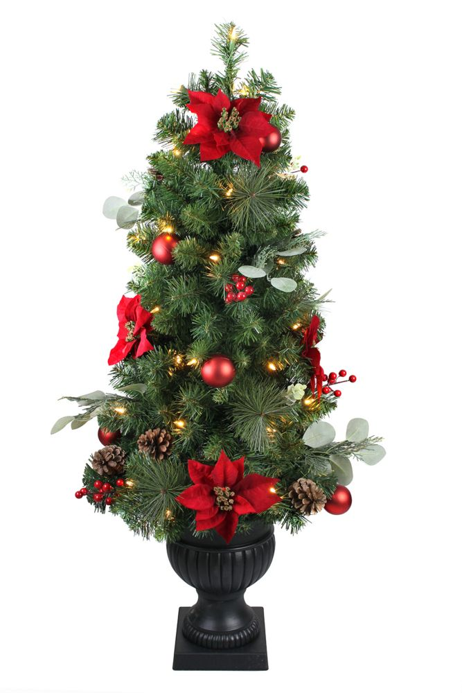 4 ft. LED Pre-Lit Berry Bliss Potted Christmas Tree
