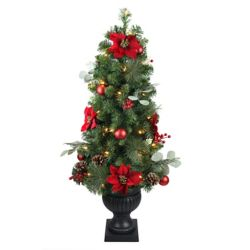 Home Accents Holiday 4 ft. LED Pre-Lit Berry Bliss Potted Christmas Tree