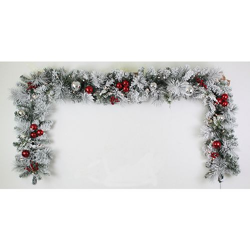 Home Accents 9 ft. 35-Light Battery Operated Warm White LED Pre-Lit Flocked Garland with Timer