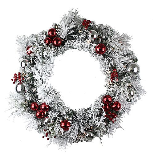 Home Accents Holiday 28 inch 35-Light Battery Operated Warm White LED Pre-Lit Flocked Wreath with Timer