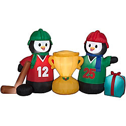 Home Accents Holiday Air-Blown Hockey Penguins Scene Outdoor Christmas Decoration
