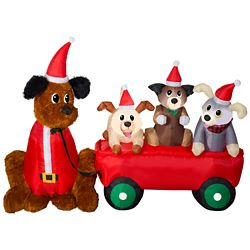 Home Accents Holiday Airblown Mixed Media Puppies and Wagon Outdoor Christmas Decoration