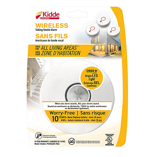 10-Year Battery Operated Wireless Interconnect Talking Smoke Alarm with LED Safety Light