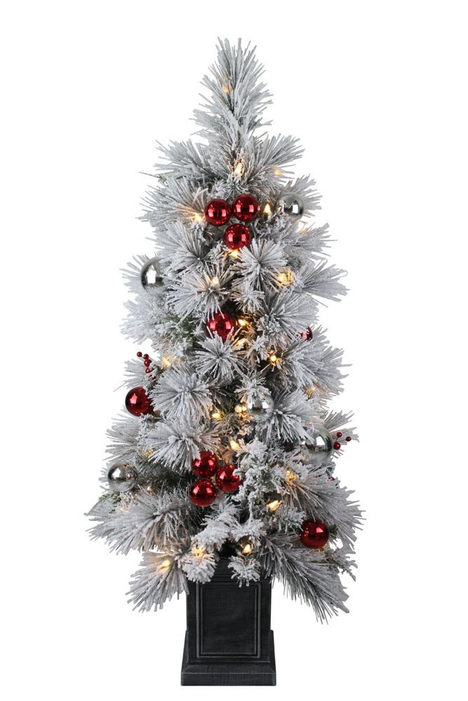 4 ft. 50-Light Warm White LED-Lit Flocked Potted Christmas Tree