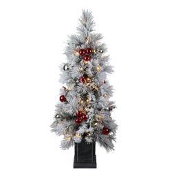 Home Accents Holiday Arbre de Noël artificiel floqué en pot illuminé à 50ampoules à DEL, 4pi, blanc chaud