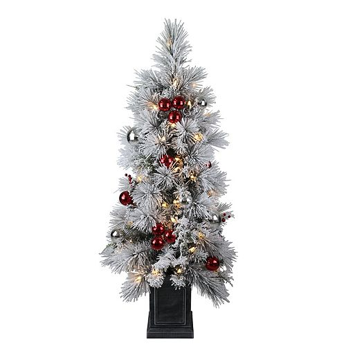 Home Accents Holiday 4 ft. 50-Light Warm White LED-Lit Flocked Potted Christmas Tree