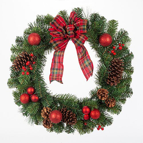 Home Accents 24 inch Mixed Pine Wreath with Red Accents