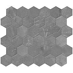 Pulpis Graphite 2-inch Hexagon Porcelain Mosaics