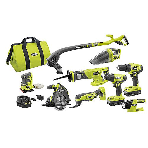 RYOBI 18V ONE+ Lithium-Ion Cordless Combo Kit (9-Tool) with (2) Batteries, Charger and Bag