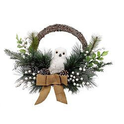 Home Accents Holiday 22-inch Wreath with Owl