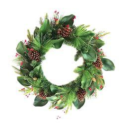 Home Accents Holiday Couronne de magnolia illuminée à 35ampoules à DEL, à piles et à minuterie, 28po, blanc chaud