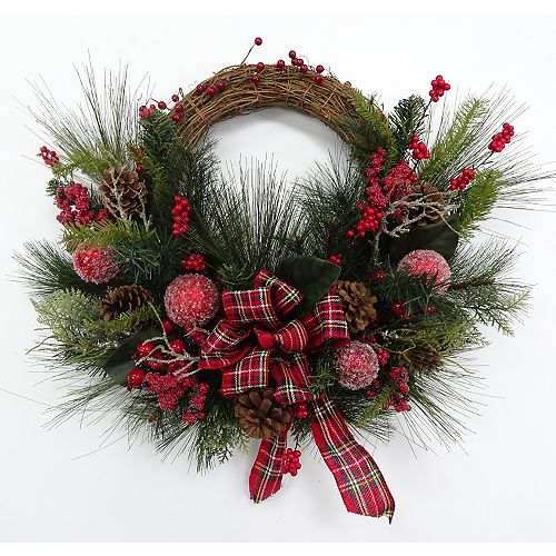 Home Accents Holiday 28 inch Sugared Berry Grapevine Wreath