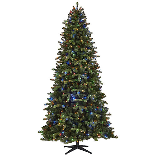 9 ft. 600 Colour Changing Surebright LED-Lit Overland Pine Quick Set Christmas Tree