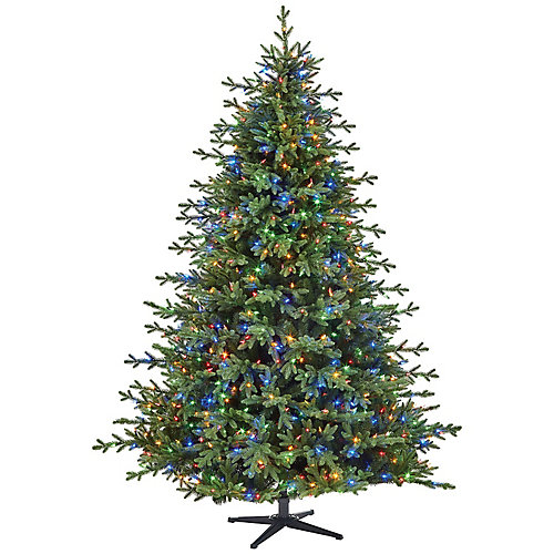 7.5 ft. 1,000 Surebright Colour Changing LED-Lit Northern Gale Spruce Quick Set Christmas Tree