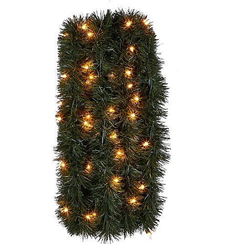 Home Accents Holiday 36 ft. 100-Light Incandescent Pre-Lit Roping Indoor/Outdoor Garland