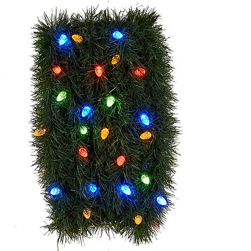 Home Accents Holiday 25 ft. Pre-Lit Roping Pine Garland W/50 Indoor 8F Low Voltage C6 Led Outdoor And Indoor