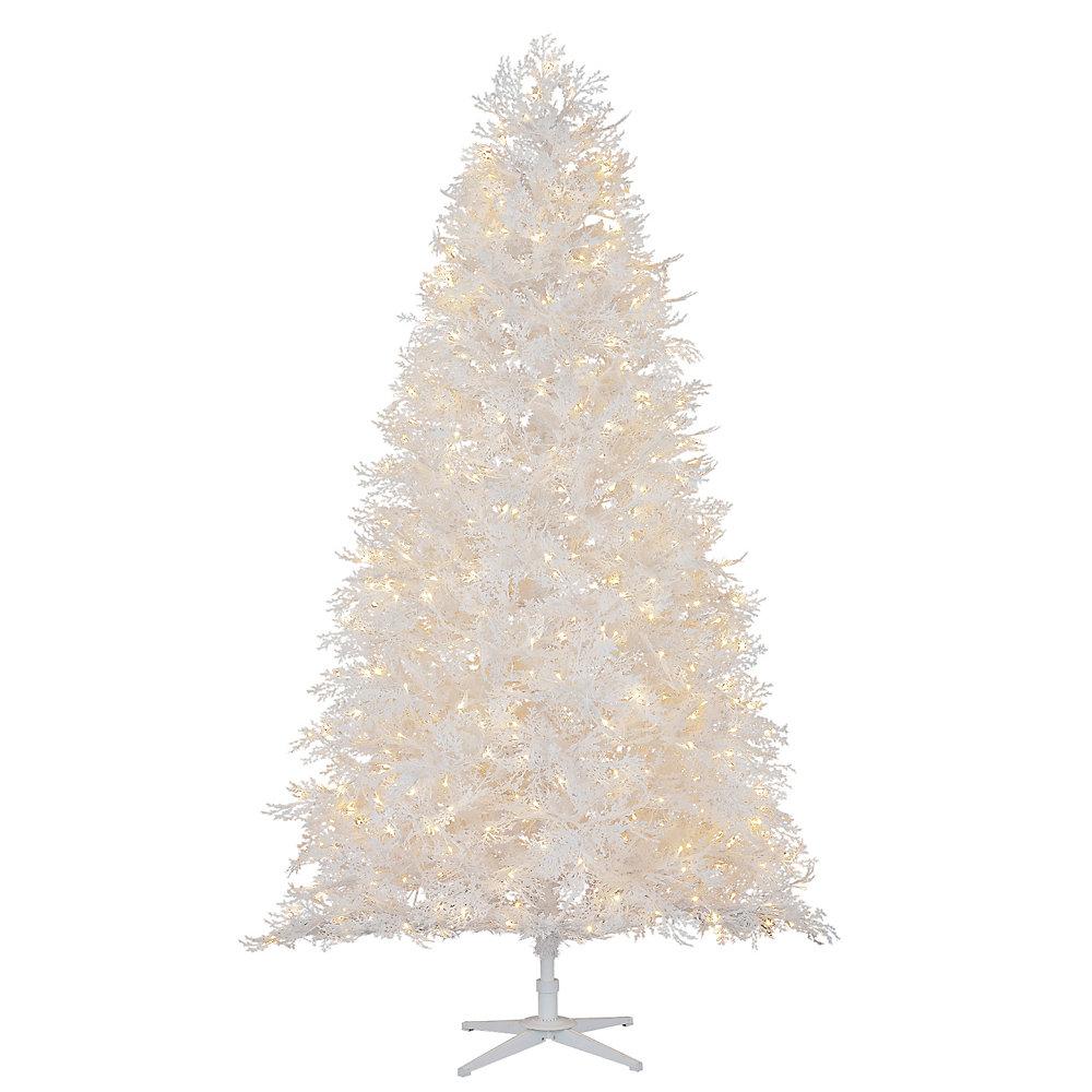Pin Winter Crest Floqué Pré-Illuminé Blanc À Installation Rapide De 7,5Pi Avec 600Lumières À Del M