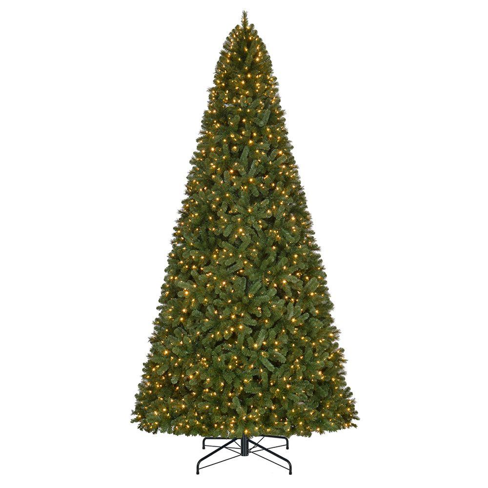 12 ft. 1,100-Light Warm White LED Pre-Lit Wesley Spruce Quick Set Christmas Tree