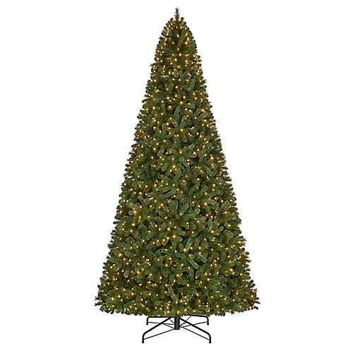 12 ft. 1,100-Light Warm White LED Pre-Lit Wesley Spruce Quick Set Christmas Tree