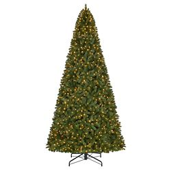Home Accents Holiday 12 ft. 1,100-Light Warm White LED Pre-Lit Wesley Spruce Quick Set Christmas Tree
