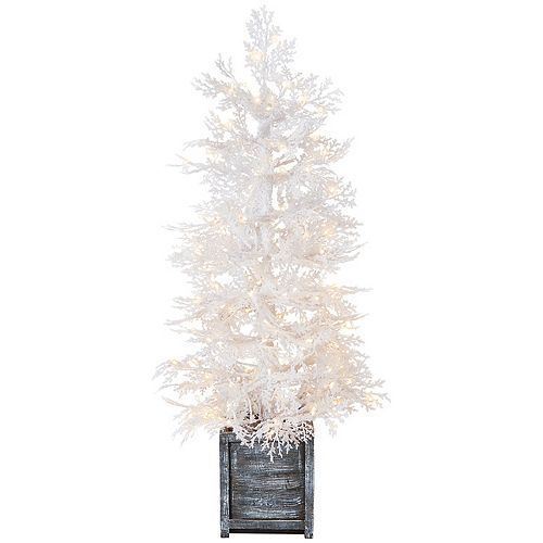 Home Accents Holiday 4 ft. Pre-Lit Winter Crest Pine White Flocking Pot Tree, 150 Micro Dot Warm White Led