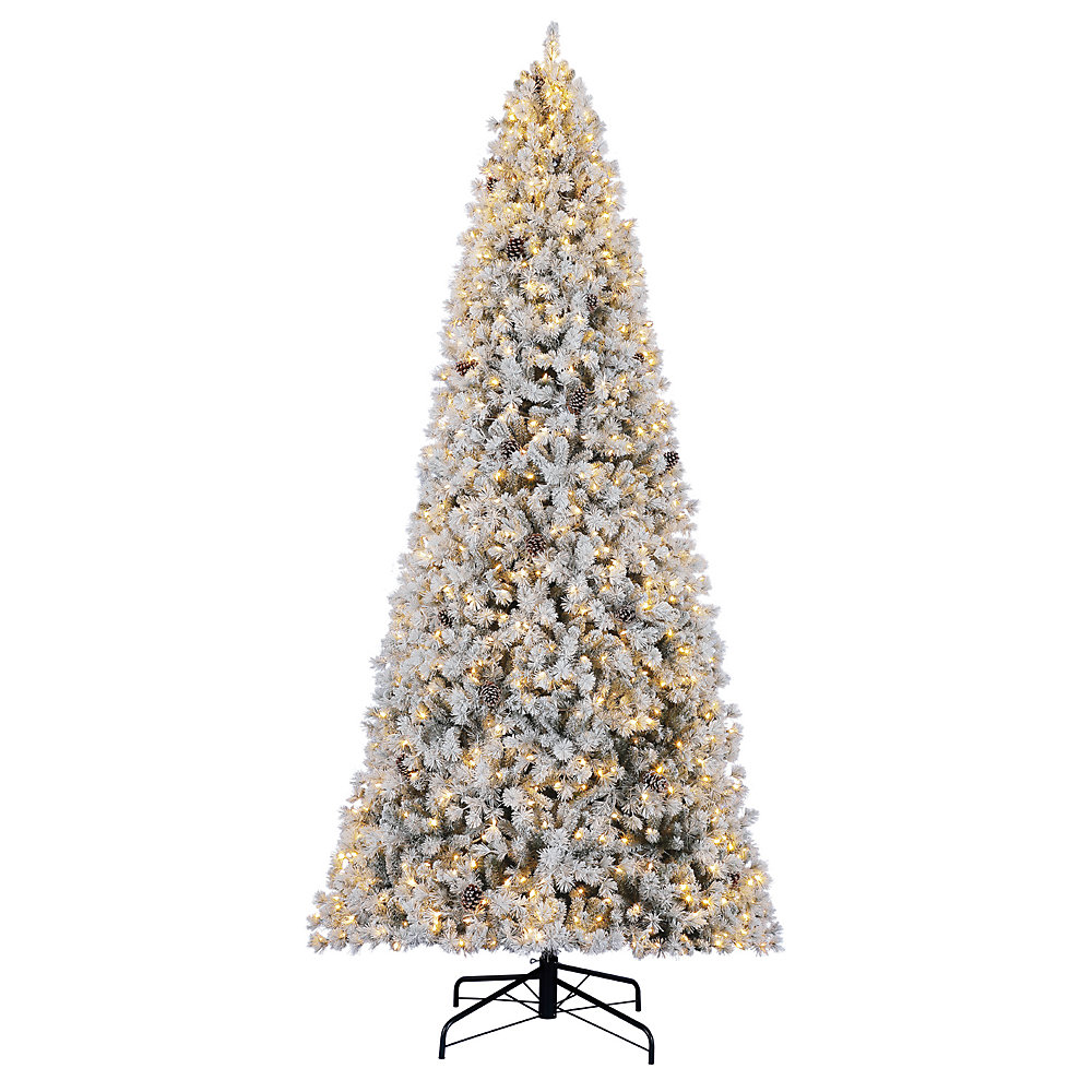 12 Ft Flocked Christmas Tree: Home Accents Holiday 12 Ft. Pre-Lit Lexington Flocked Tree