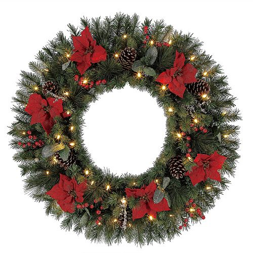 Home Accents 32 inch Crystal Red Berry Wreath, 50 B/O Warm White Led, Frosted Pinecones And Poinsettias