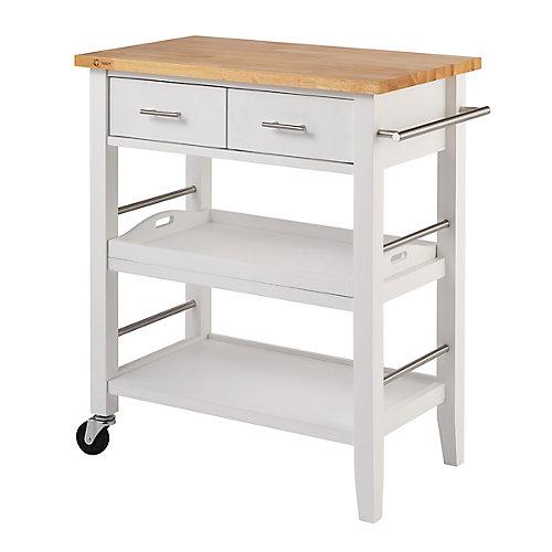 Chariot de cuisine blanc en bois à 3 tablettes et à tiroirs