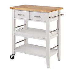 Wood Kitchen Cart w/ Drawers & Tray