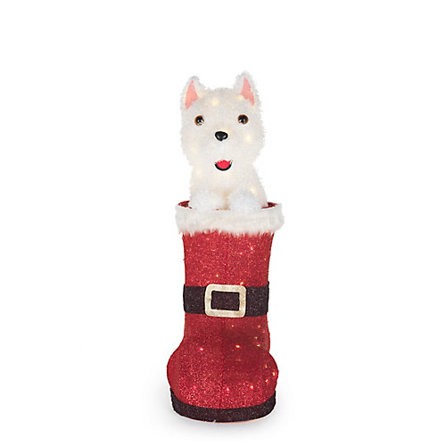 2 ft. 6-inch LED-Lit Animated Dog in Boot Outdoor Christmas Decoration