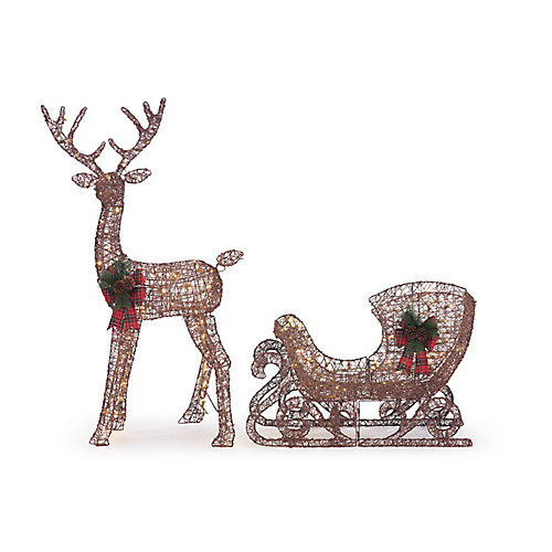 4 ft. 6-inch LED-Lit Reindeer and Sleigh Outdoor Christmas Decoration