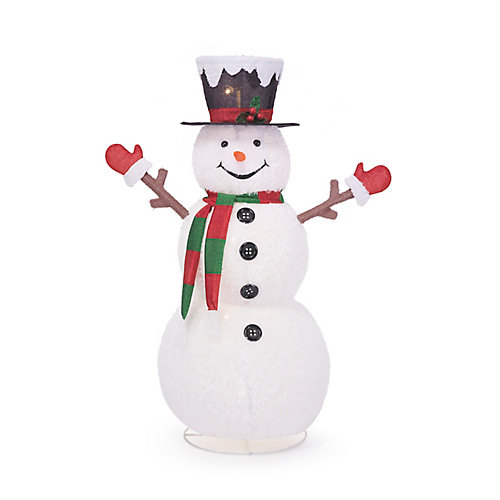 58-inch LED-Lit Collapsible Snowman Outdoor Christmas Decoration
