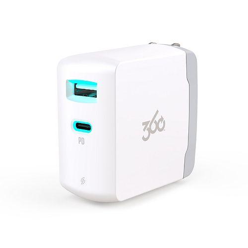 360 Electrical VividUSB-C 30W USB-C + 12W USB-A Wall Charger
