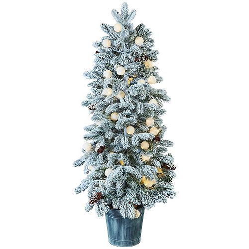 Home Accents Holiday 4ft. LED Globe Bulb Snow Tree