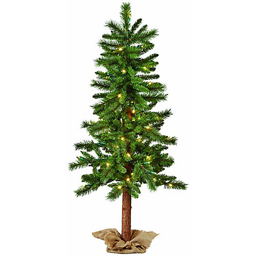 4 ft. LED-Lit Tree with Burlap Base Outoor Christmas Decoration