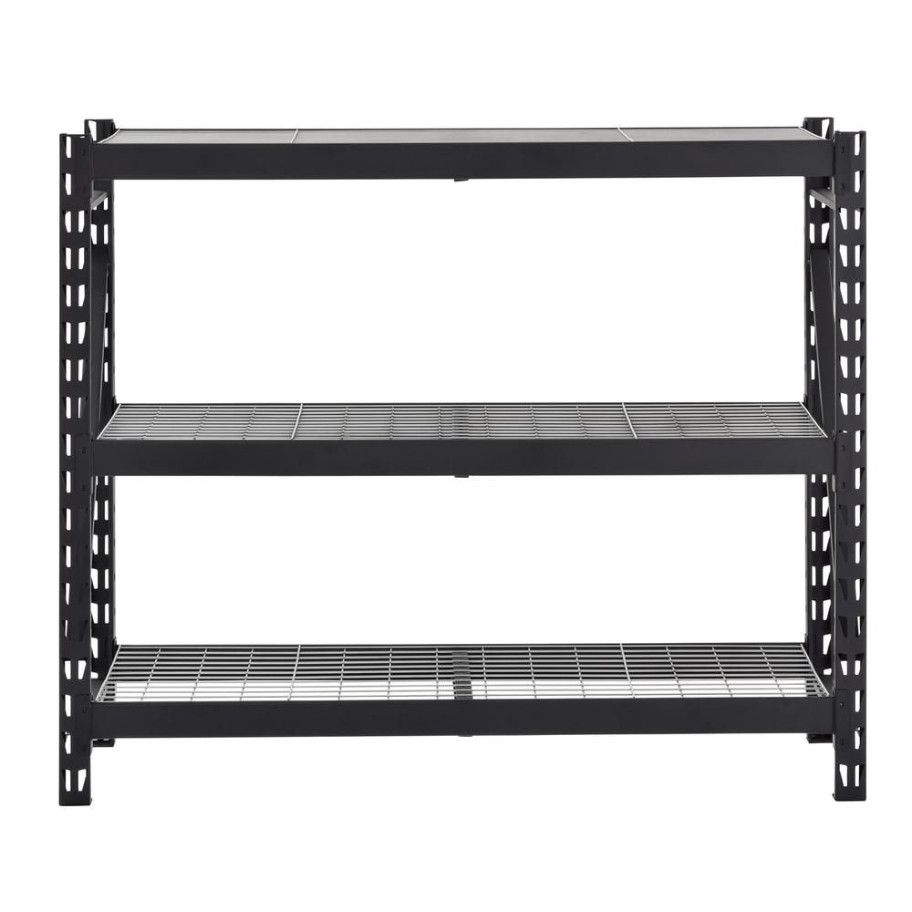 Husky 3-Shelf Welded Steel Garage Storage Shelving Unit with Wire Deck in Black ERZ652454W3C