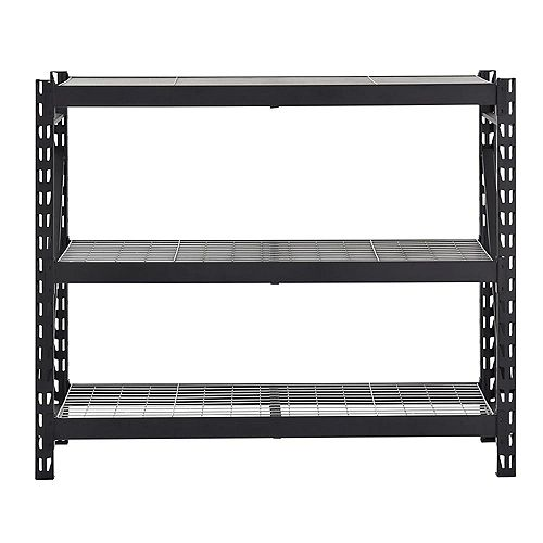 Husky 3-Shelf Welded Steel Garage Storage Shelving Unit with Wire Deck in Black