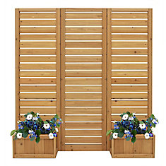 5 ft. x 5 ft. Outdoor Wood Privacy Screen with planters