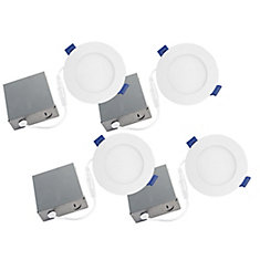 Slim Disk 4 ¼ inch Matte White Integrated LED Recessed Fixture Kit (4-Pack)