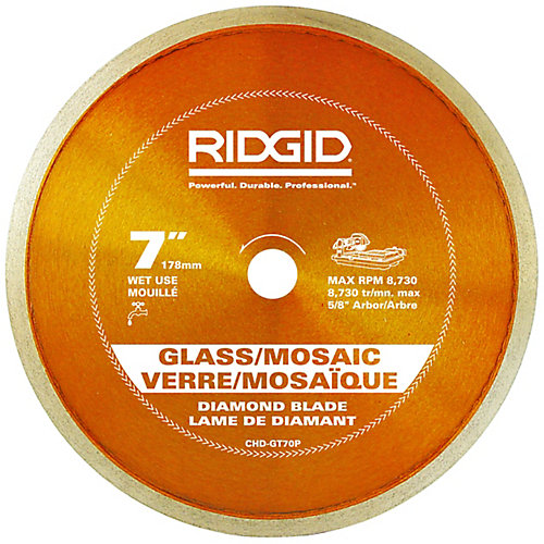 Lame de scie diamantée à rebord continu pour carreaux de verre, 7 po (178 mm)