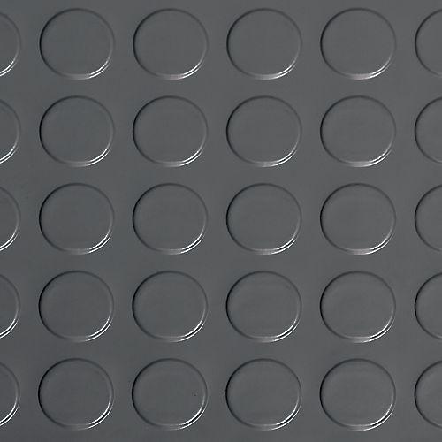 G-Floor Revêtement protecteur à relief en pastilles de qualité commerciale en vinyle, 8,5 x 24 pi, gris