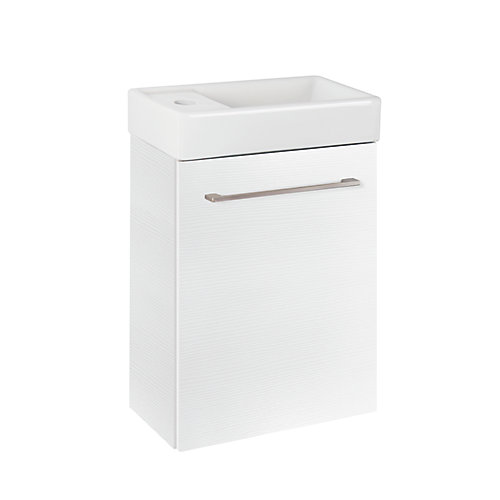 Clarence 16-inch Wall Hung Bathroom Vanity in White with Reversible Ceramic Top