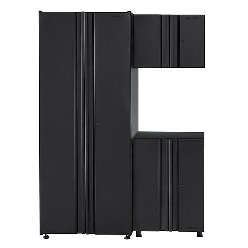 HUSKY 3-Piece Welded 54-inch W x 75-inch H x 19-inch D Steel Garage Cabinet Set in Black