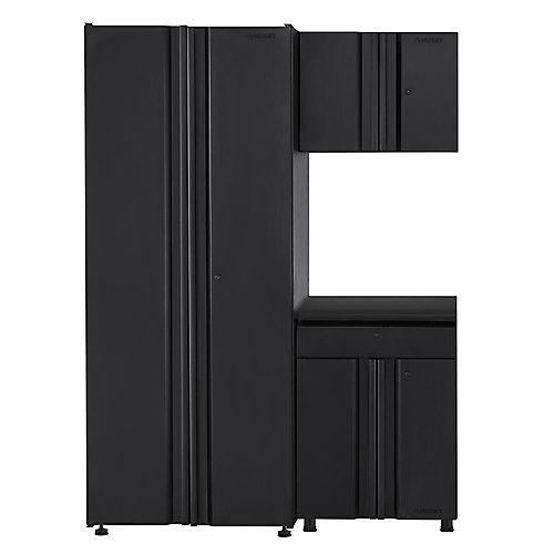54-inch 3-Piece 6-Door 1-Drawer Garage Cabinet Set in Black