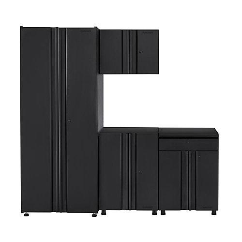 78-inch 4-Piece 8-Door 1-Drawer Garage Cabinet Set in Black