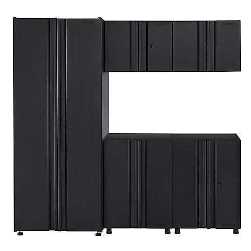 78-inch 5-Piece 10-Door Garage Cabinet Set in Black