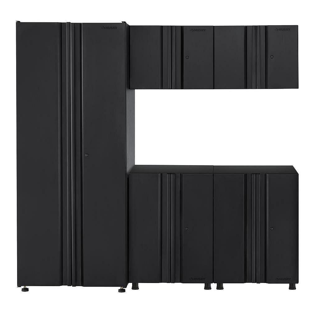 Husky 5-Piece Welded 78-inch W x 75-inch H x 19-inch D Steel Garage Cabinet Set in Black