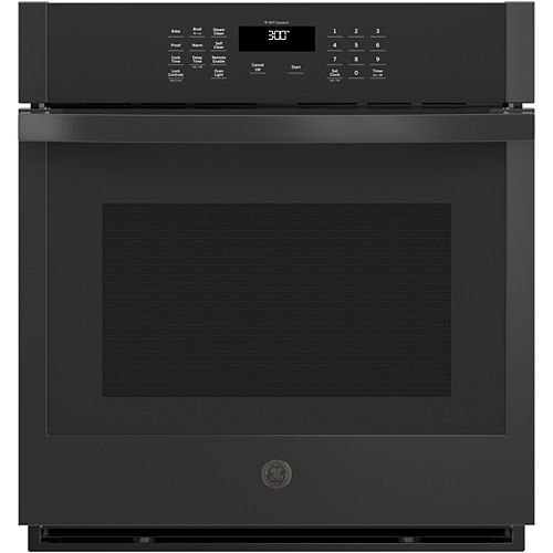 GE 27-inch W Smart Single Electric Wall Oven Self-Cleaning in Black