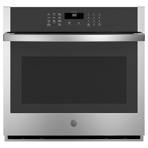 GE 30-inch W Smart Single Electric Wall Oven Self-Cleaning in Stainless Steel
