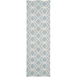 Safavieh Dhurries Vasiliki Blue / Ivory 2 ft. 6-inch X 10 ft. Runner